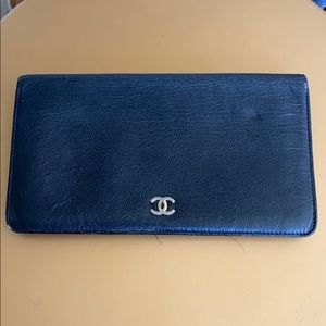 Authentic Chanel black leather CC long wallet